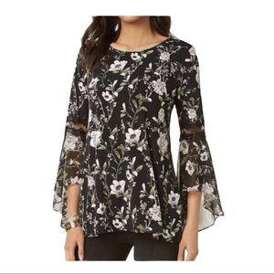 Alfani Floral Bell Sleeve Tunic Top Blouse Black S